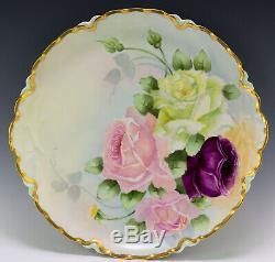Antiquités 13 Limoges Peinte À La Main Roses Plate Platter