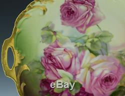 Antiquités Bavière Plaque Peinte À La Main Roses Gâteau
