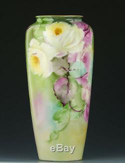 Antiquités Belleek Cac Peint À La Main Roses Vase