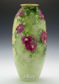 Antiquités Cac Belleek 18,5 Roses Vase Peint À La Main