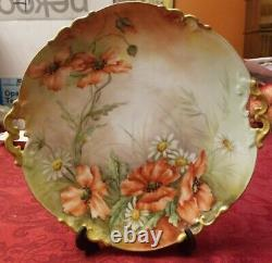 Antiquités Limoges Ak Hand Painted 10 Cake Plate