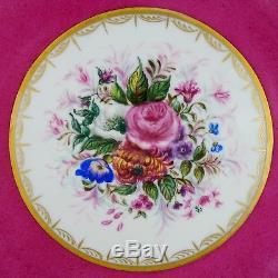 Antiquités Plateaux À Dessert En Porcelaine De Limoges, France, Or Rose Peint À La Main