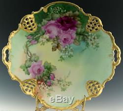 Antiquités Rosenthal Plate Main Roses Peint
