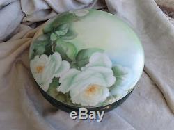 Antiquités Roses Blanches À Fleurs Peintes À La Main Boîte De Commode Lg En Porcelaine De France Limoges