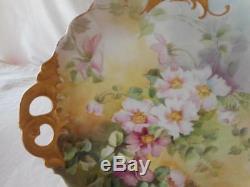 Artist Signé St Clair Plaque De Cabinet De Garniture Doré Fleur Rose Limoges Peint À La Main