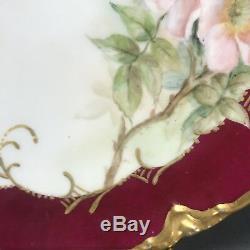Artiste Peint À La Main Signé Haviland & Co Limoges Papillons Rose & Chargeur D'or 11