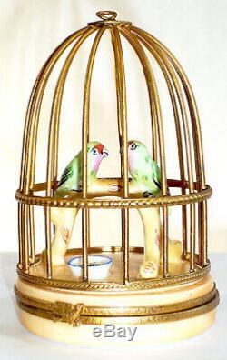 Artoria Limoges Perroquets À Golden Cage-box Trinket, # 1005 Peint À La Main Et Signée