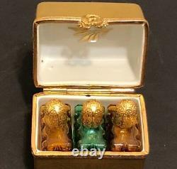 Asprey Peint À La Main Doré Doré Peint Poitrine Principale Limoges Avec 3 Bouteilles De Parfum Minuscules