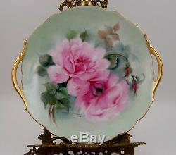 Assiette À Gâteau Roses Peintes À La Main Antique Limoges, Chargeur De Plaques Sensationnel