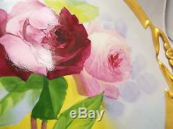 Assiette À Gâteaux Ou Assiette À Gâteaux Roses Rouges Et Roses, Peinte À La Main, Antique