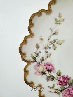 Assiette Antique Haviland & Co Limoges Peinte À La Main Avec Des Roses Et Doré 9