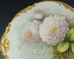 Assiette De Chargeur Limoges 13 Roses Peintes À La Main