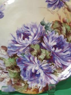 Assiette Peinte À La Main De Limoges Avec Fleurs Violettes