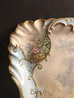 Assiette / Plateau En Porcelaine De Limoges Antique. Scence Romantique Peinte À La Main. France 1895