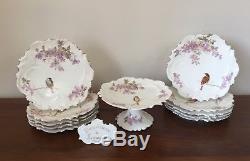 Assiettes À Dessert Et Support À Gâteaux Antique A. Lanternier Limoges, Peintes À La Main, Oiseaux 10