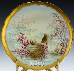 Assiettes De Coquillages De Poisson Peintes À La Main Antique De Limoges