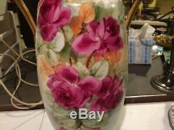 Autriche Limoges Peinte À La Main Porcelaine Grand Vase 16 Artistes Roses & Gold