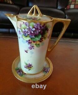 Bavaria Thé Pot & Limoges Trivet, Violettes Peintes À La Main, Schindler
