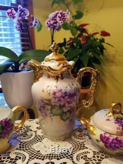 Bavière Limoges Chocolat Violet Peinte À La Main Pot / Creamer / Sucre / Set Chargeur