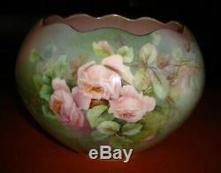 Bavière Peinte À La Main Signé Jardinière, Vase, Bol, Planteur, Pink Roses, 8
