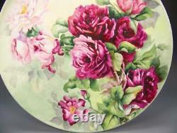 Beau Chargeur Roses Limoges 14 Peint À La Main