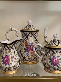 Beau Limoges Chine 15 Piece Tea Set Peint À La Main Pink Flower Coffee Choclat