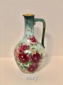 Beau T & V France Grand Vase Peint À La Main En Porcelaine Avec Des Roses