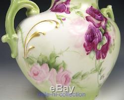 Beau Vase À Oreiller En Roses Peintes À La Main De Limoges