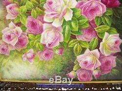 Beaufitul Limoges France Plaque De Roses Peintes À La Main Artiste Glanchat
