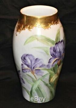 Belle Grand Vase Iris Limoges Peinte À La Main