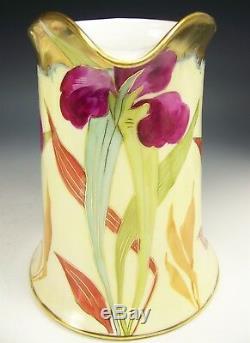 Belle Grande Cruche Iris Peinte À La Main Limoges