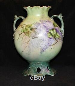 Belle Grande Decores Jp / L Limoges Vase 11 1/2 Lilacs