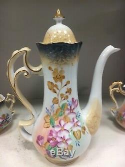 Belle Limoges Chine 15 Piece Tea Set Peint À La Main Fleur Rose Café Choclat