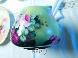 Belle Peinte À La Main Limoges Roses Pitcher Cidre