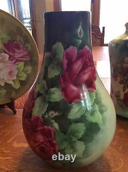 Belleek Willets Limoge Rose Hand Peint Grand Vase
