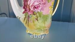 Belles Mains Peintes Rose Tea Pot Non Signé Limoges