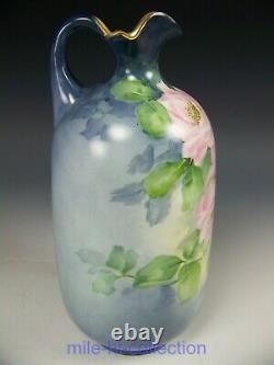 Belles Roses Peintes À La Main Limoges 8.5 X 4 Vase Ewer