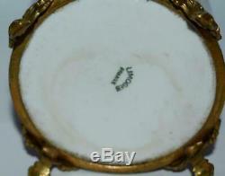 Big Antique Vintage Français Porcelaine De Limoges Peinte À La Main Boîte De Bijoux Trinket