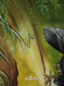 Blakeman & Henderson Limoges Chargeur Main Plate Peint La Turquie A Signé Baumy