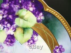 Blanc Chicago Art Limoges Peinte À La Main Violettes Or 14 Chargeur Signé E. White