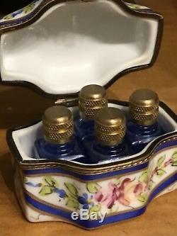 Boîte À Bijoux Avec Parfum En Porcelaine Peinte À La Main À Limoges