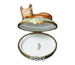 Boîte À Bijoux Fox Artoria Limoges En Porcelaine Peinte À La Main, Édition Limitée