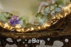 Bol À Bonbons À L'ancienne À La Main De Pickard, Chine, Limoges, Peint Aux Violettes