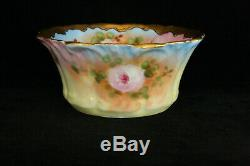 Bol Et Pichet Miniatures Anciens 100% Floral Peints À La Main Floraux T & V Limoges