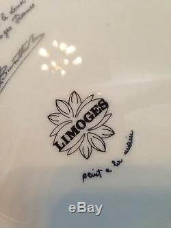 Bol Limoges 9 Peint À La Main Rose, Poignées En Laiton = 12