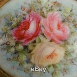 Boutons De Goujon Et Boucle De Ceinture Peints À La Main De Roses Anciennes En Porcelaine De Limoges