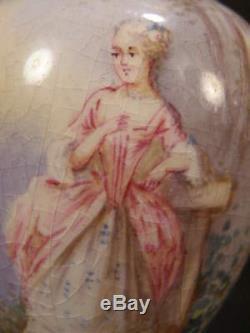 Bronze Des Années 1800 En Porcelaine De Limoges, France, Portrait Peint À La Main, Vase À Urne Doré