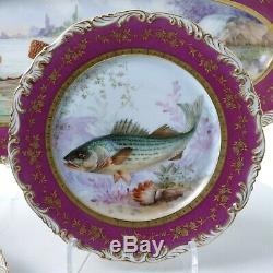 C1890 T & V Limoges 15pc Poissons Set Gravy Platter 12 Assiettes En Porcelaine Peinte À La Main