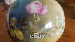 C1900 Antique Jean Pouyat Limoges Peintes À La Main Squat Vase Signé Leona