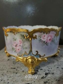 C1910 Grande Main D'or Lourd Limoges Footed Cachepot Peint Roses